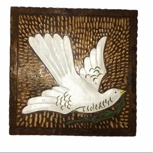 Wooden Hand Painted & Carved Dove Of Peace Plaque